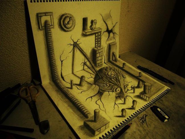 Com grafite e criatividade, artista cria desenhos 3D incríveis [galeria]