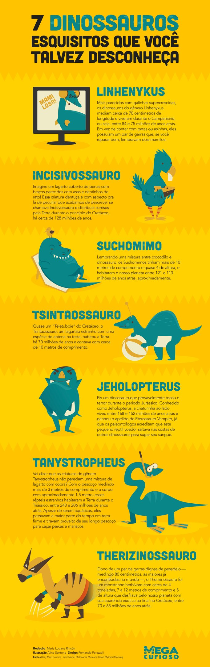 7 dinossauros esquisitos que você talvez desconheça [infográfico]