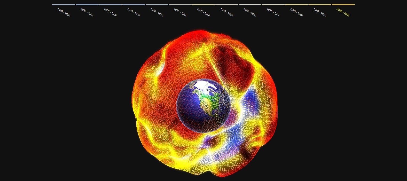 De 1800 a 2004: gráfico mostra variações de temperatura sobre o Globo