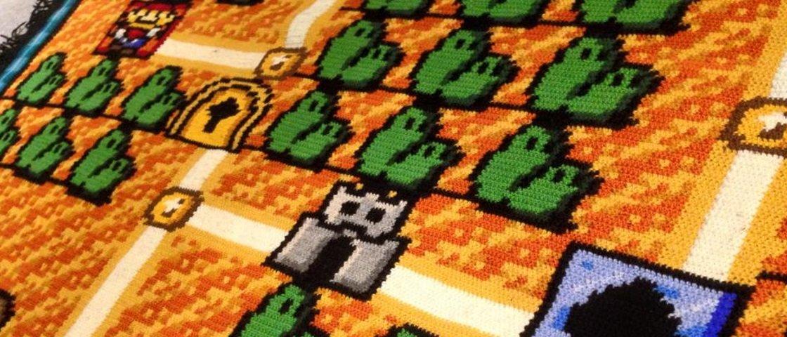 Colcha de crochê feita em 6 anos vira febre entre os fãs de Super Mario
