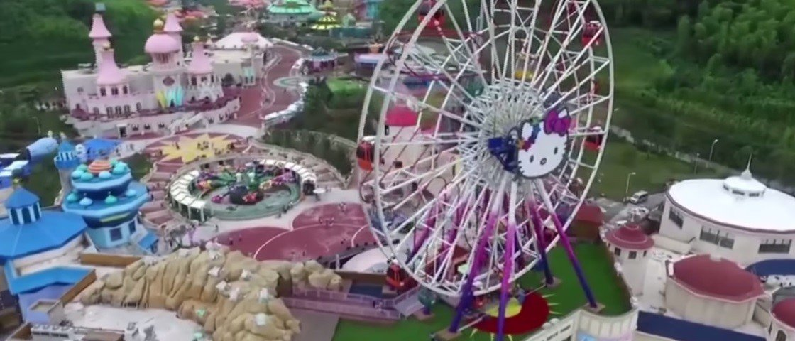 Drone revela imagens incríveis de novo parque chinês da Hello Kitty [vídeo]