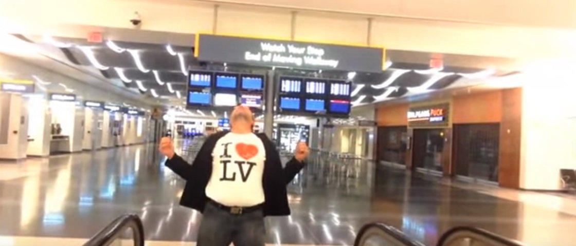 Sozinho à noite no aeroporto, este cara fez um vídeo divertidíssimo – veja