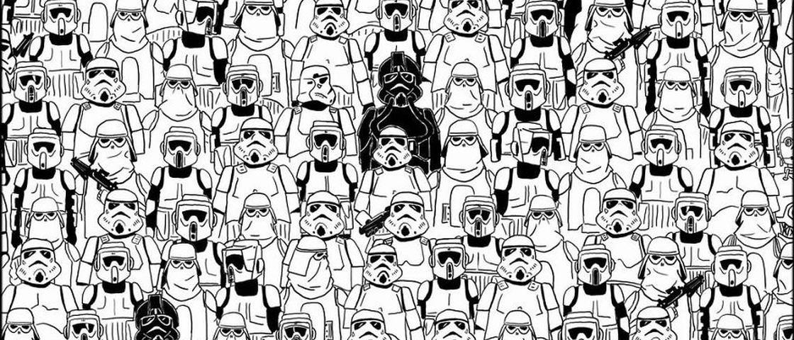 Agora o panda está entre roqueiros e stormtroopers. Você consegue achá-lo?