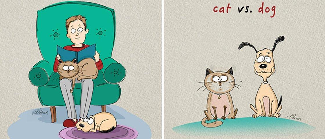 5 diferenças entre ter cães e gatos ilustradas por artista russo