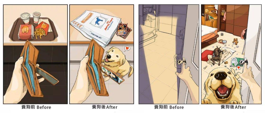 Ilustrador demonstra como é a vida antes e depois de adotar um pet