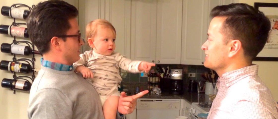 Pai chama irmão gêmeo e confunde o filho bebê em vídeo hilário – veja!
