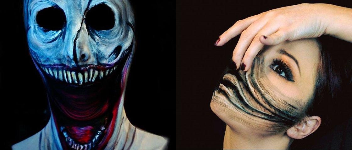 Tem de tudo: a incrível transformação de uma artista com maquiagem