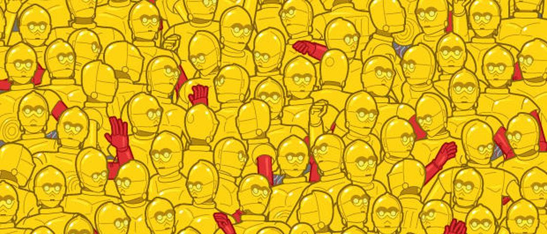 Você consegue achar a estatueta do Oscar no meio de um monte de C-3PO?