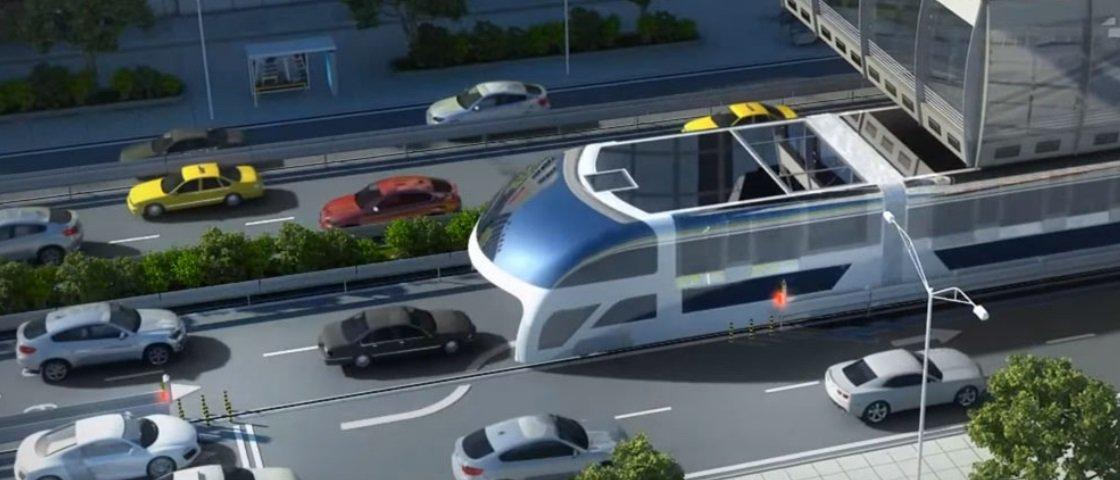 Conheça o projeto de ônibus suspenso que parece engolir o trânsito