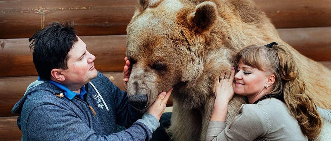 Casal convive há 23 anos com um urso de estimação