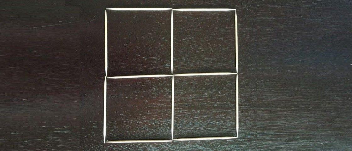 Desafio dos palitinhos: faça 5 quadrados virarem 3 com apenas 3 movimentos