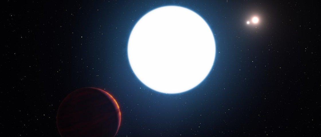 Encontraram um planeta supermassivo dançando com três estrelas