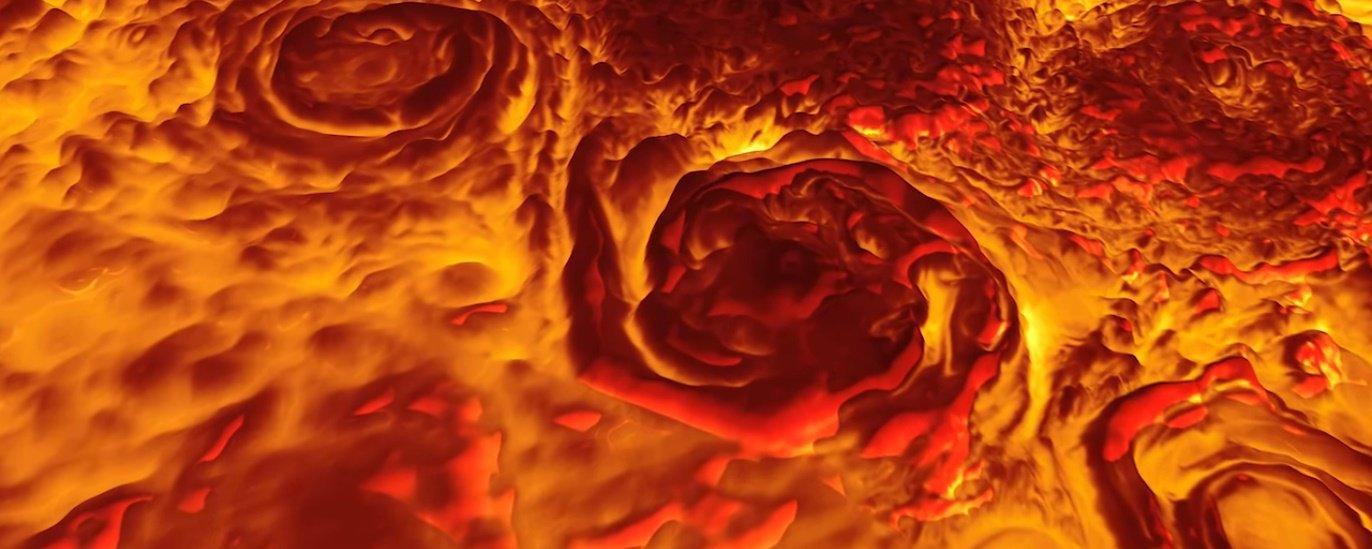 Veja uma incrível animação em 3D do polo norte de Júpiter