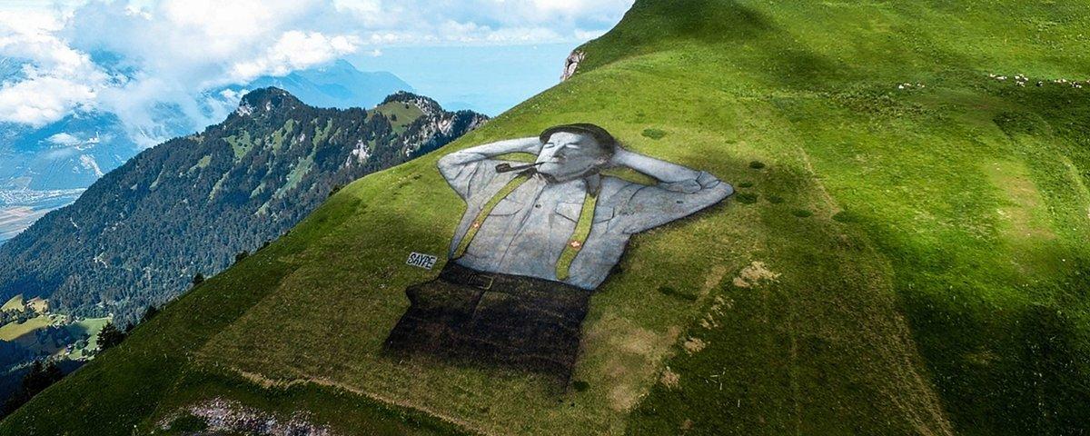 Suíço sobe as colinas e faz desenhos maiores do que campos de futebol