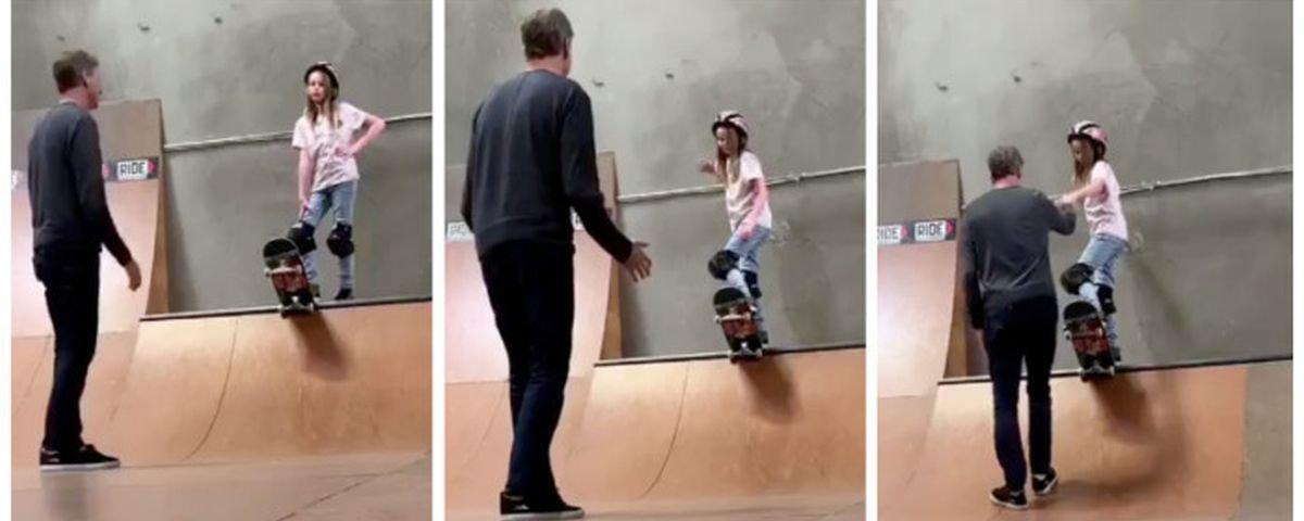 Filho de peixe: Tony Hawk ajuda filha a superar medo de skate em vídeo fofo