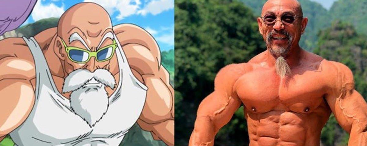 Mestre Kame, é você? Halterofilista é igual a personagem de Dragon Ball