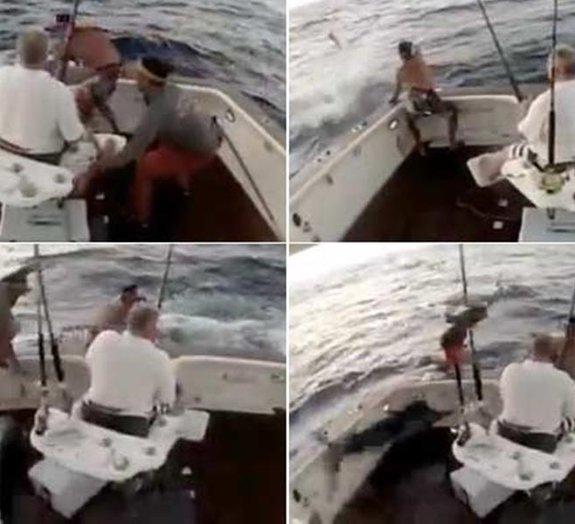 Peixe a bordo, homem ao mar: pescador com medo de marlim pula do barco