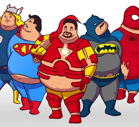 Já pensou se os super-heróis fossem gordinhos?
