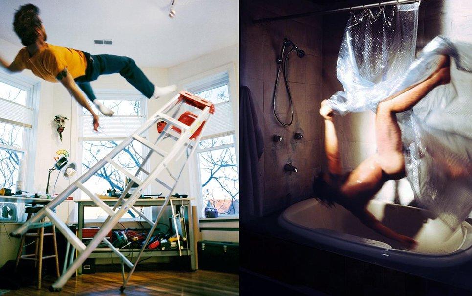 Fotógrafo faz retratos de seu próprio corpo caindo em situações diversas