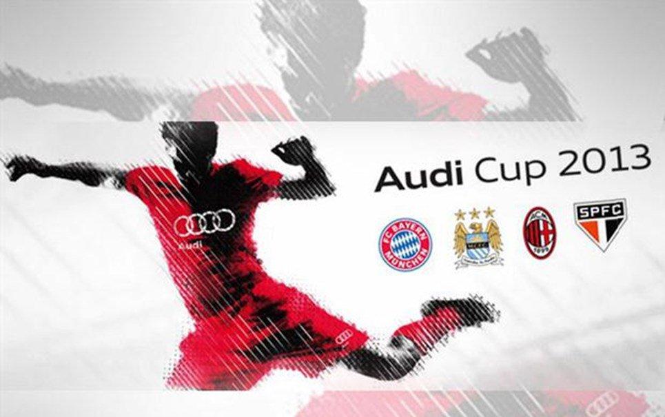 Placa de publicidade ofende lateral do São Paulo durante jogo pela Audi Cup