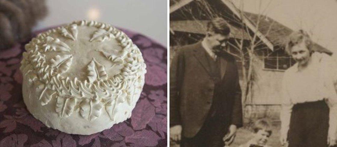 Homem encontra bolo de 100 anos de idade, do casamento dos seus avós