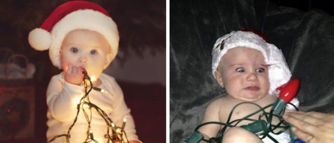 Expectativa x realidade: 15 fotos natalinas de crianças que não deram certo