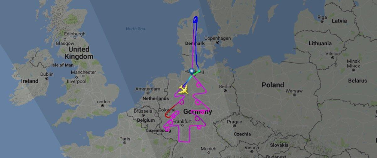 Rota festiva: Airbus 380 percorre trajeto em forma de Árvore de Natal
