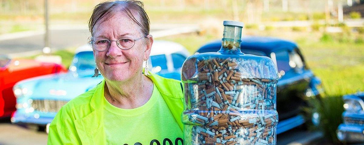 Conheça a Mulher Bituqueira que já recolheu 1 milhão de guimbas de cigarro