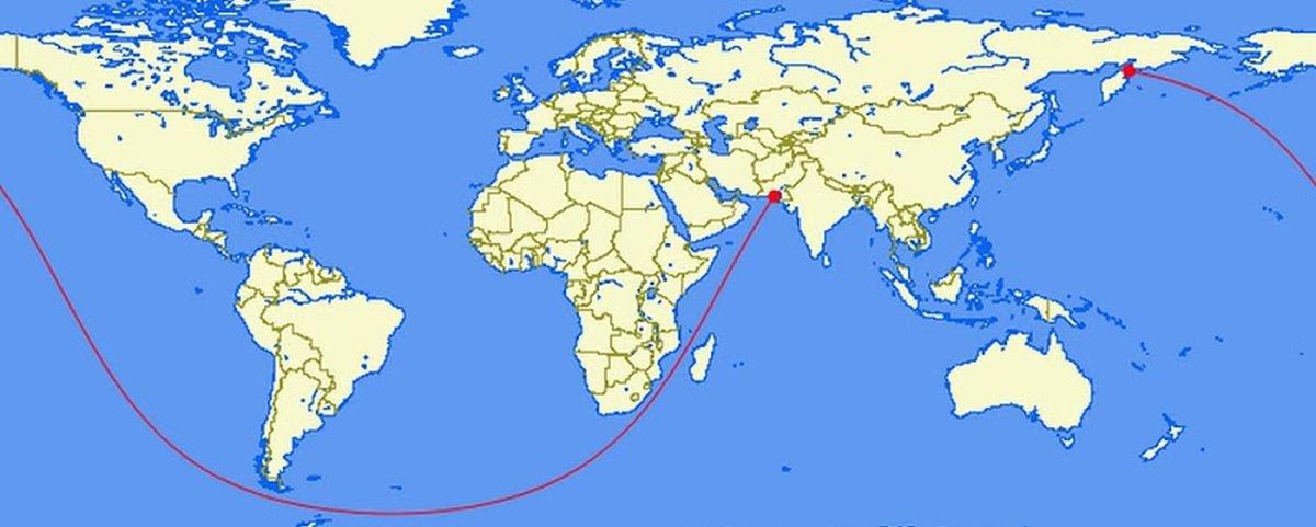 Maior rota marítima em linha reta sem cruzar nenhuma ilha tem 30 mil km