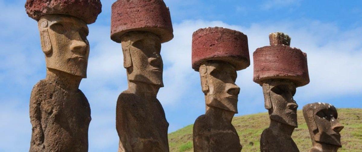 Surgiu uma explicação de como colocaram chapéus nos Moais da Ilha de Páscoa