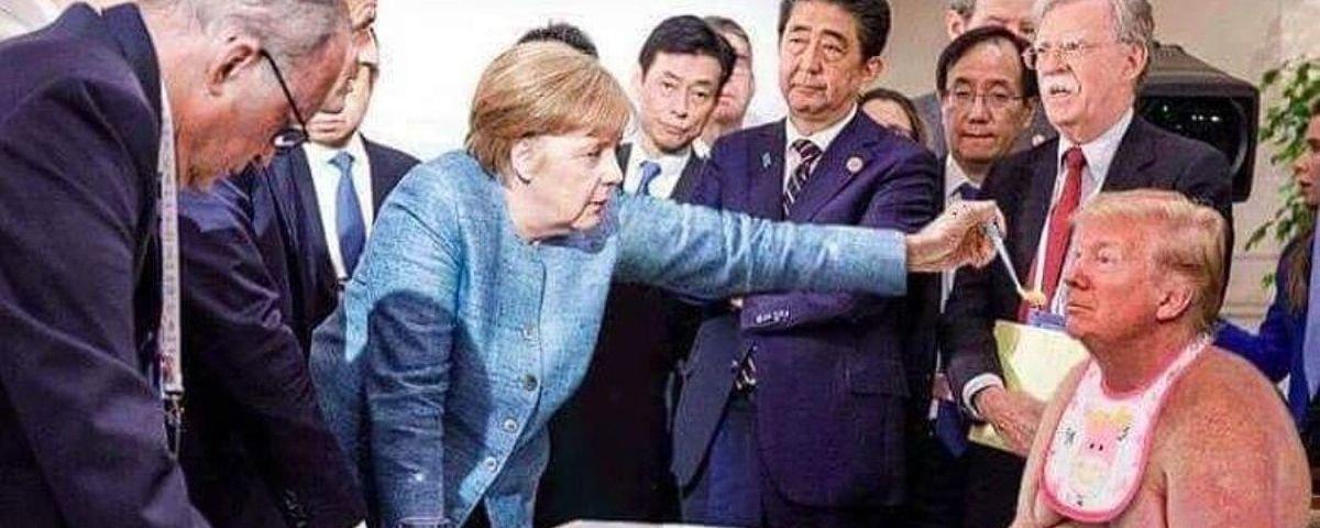 As melhores montagens da foto épica de Merkel e Trump no encontro do G7