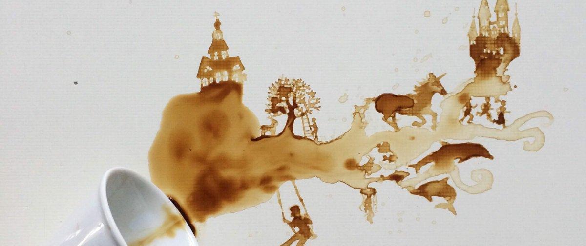 Artista transforma café e chocolate derramado em imagens fantásticas