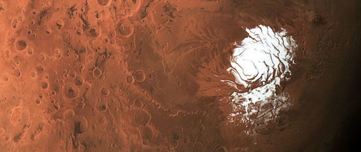 Descobriram água em sua forma líquida em um dos polos gelados de Marte