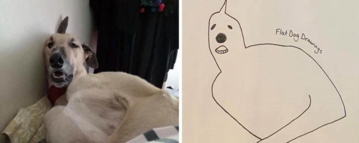 Desenhos de cachorro em poses engraçadas viralizam na internet