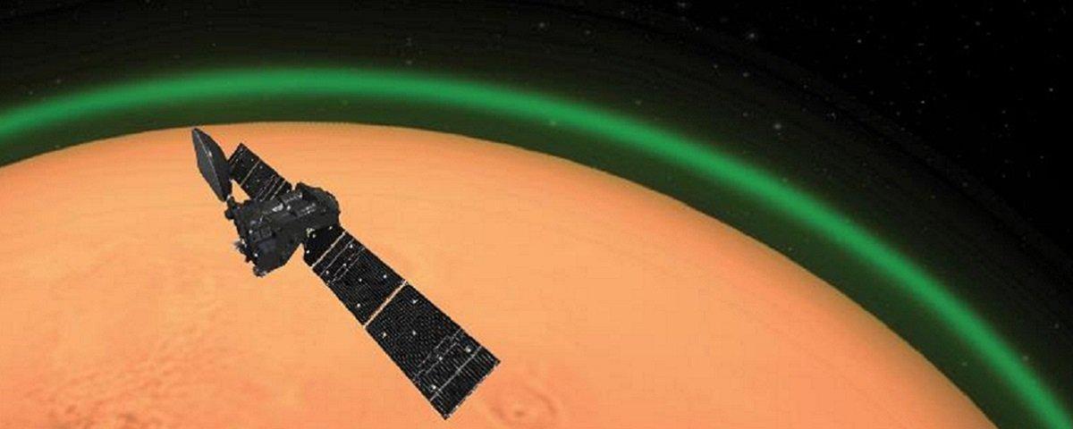 Sonda europeia captura estranho brilho verde em Marte