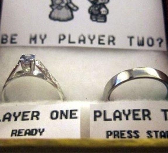 Pedido de casamento nerd: Você quer ser meu player 2?