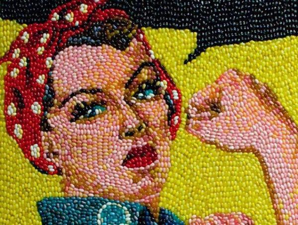 Artista cria quadros incríveis com milhares de balas de goma
