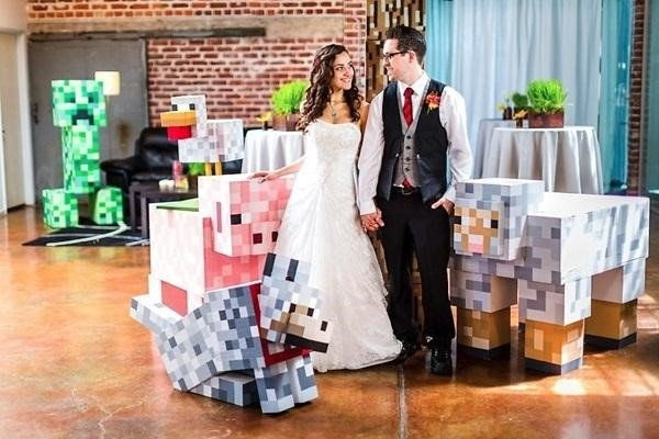 O casamento foi a forma dos noivos também demonstrarem o amor que eles possuem por Minecraft
