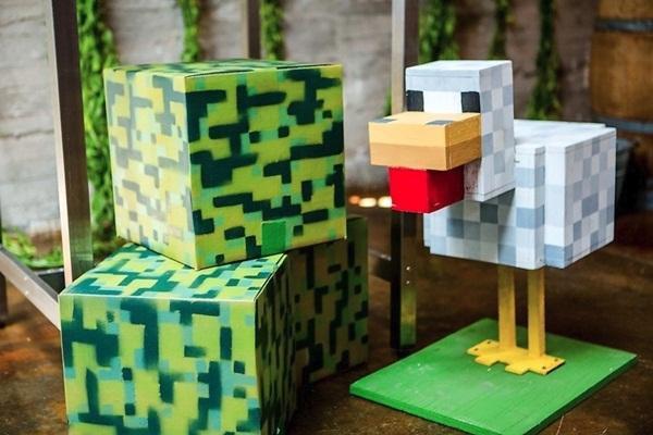 Casamento contou com esculturas de cenários e personagens do jogo Minecraft