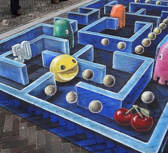 Artista recria Pac-Man em uma pintura 3D impressionante