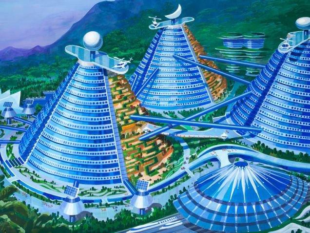 Cidade vertical com edifícios equipados com heliportos