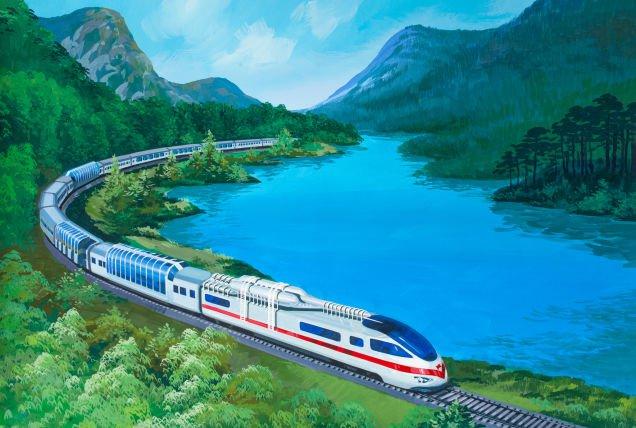 Trem de alta velocidade com janelas panorâmicas