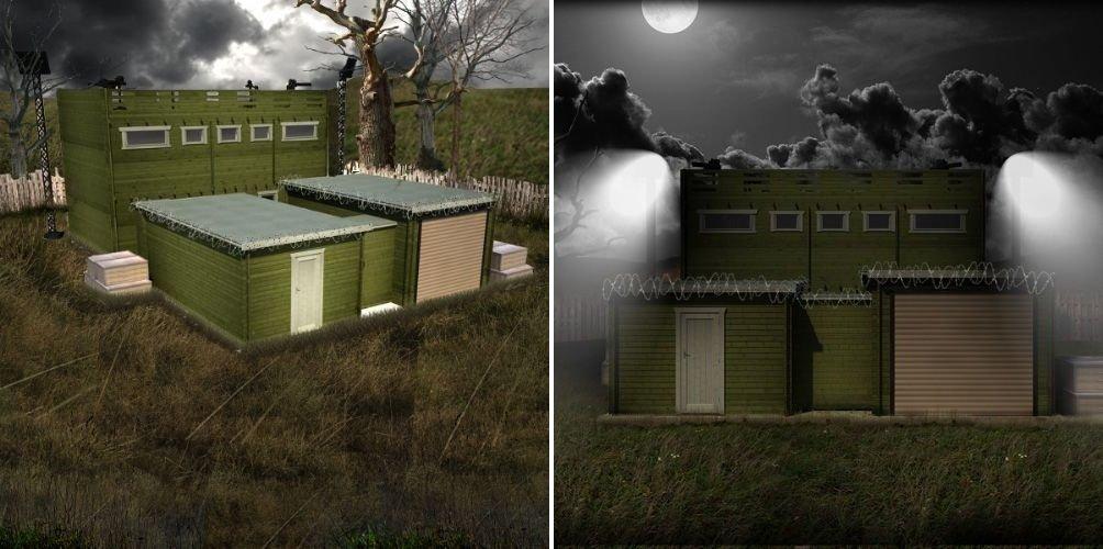 Paredes reforçadas e arsenal são destaque de cabana contra apocalipse zumbi