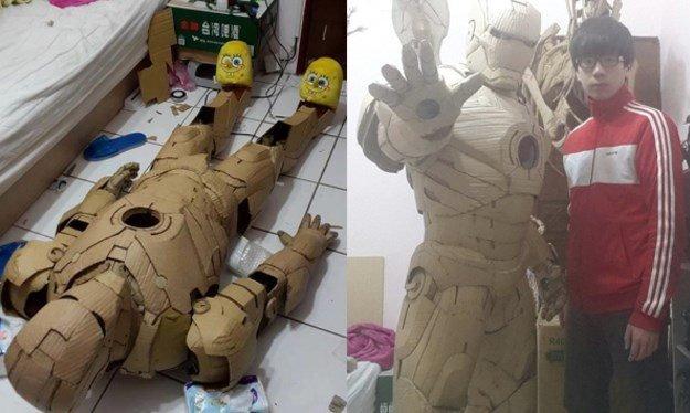 Incrível: artista cria armadura do Homem de Ferro com papelão