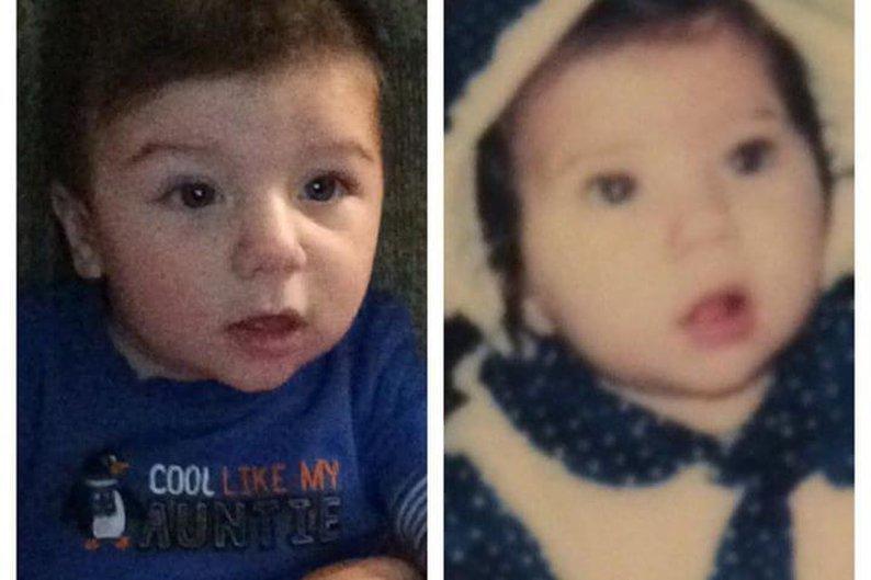 Filho e mãe, ambos também com cinco meses de idade