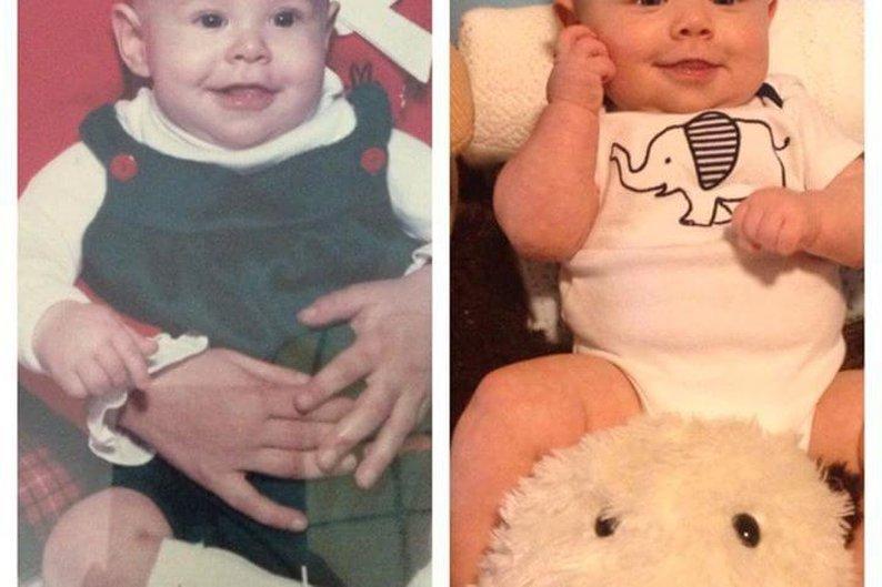 Pai e filho, ambos com cinco meses de idade