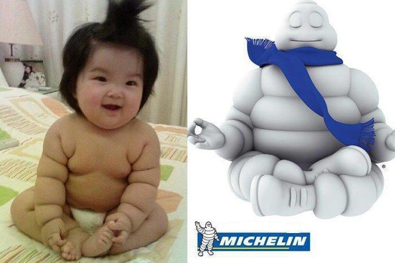 Bebê e boneco da Michelin