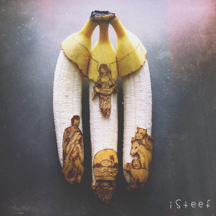 Viva a criatividade! Artista faz ilustrações fantásticas em bananas