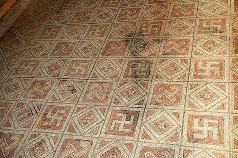 Mosaicos criados pelos antigos romanos em La Olmeda, na Espanha