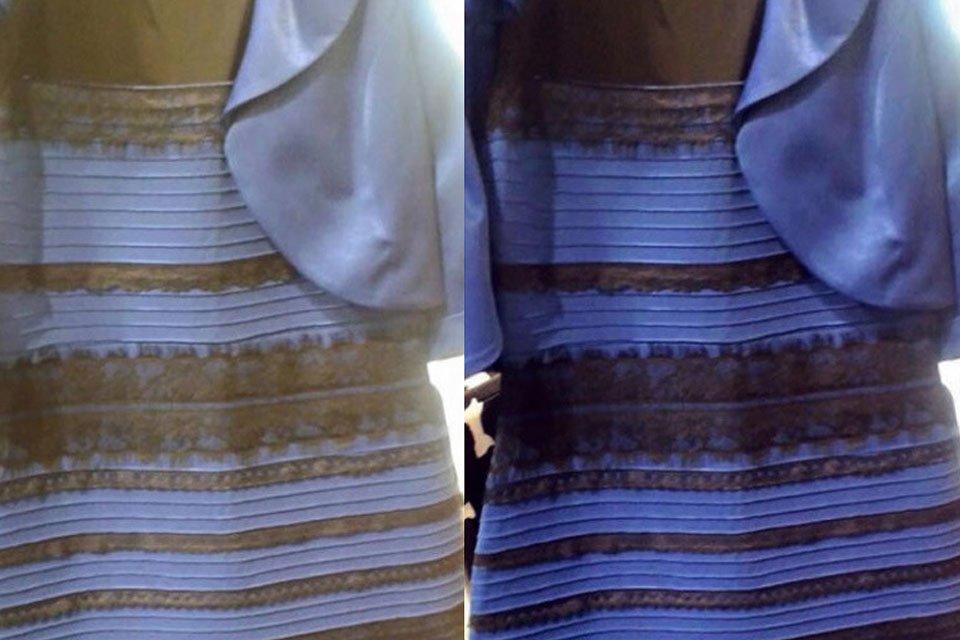 Vestido azul e marrom ou branco e dourado